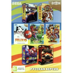 Картридж SEGA 7 в 1 [A-703] (Chip&Dale1,2/Felix/Darkwing/Mario2,4/World of Tanks)