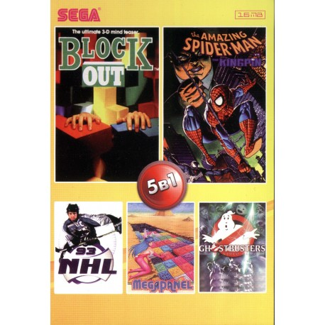 Картридж SEGA 5 в 1 [№207] (Ghostbusters/Blockout/NHL93/Spider-Man/)