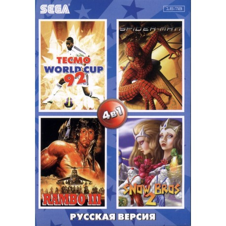 Картридж SEGA 4 в 1 [DY-442] (Snow Bros//WorldCap92/Spiderman/Rambo)