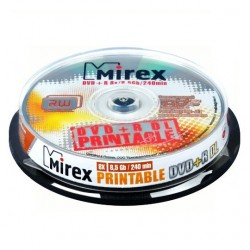 Диск DVD+R DL Mirex 8.5Gb 8x, printable (10 шт. в банке)