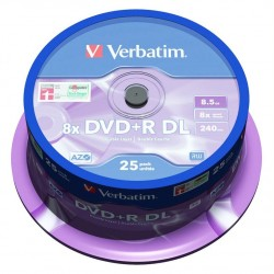 Диск DVD+R DL Verbatim 8.5Gb 8x (25 шт. в банке)